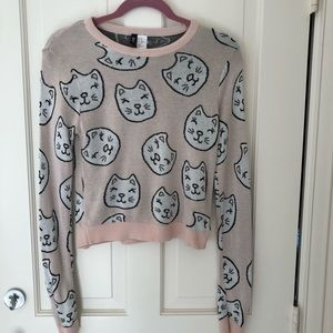 Crew neck sweater with cats
